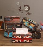 American style home tissue box retro leather dispenser box holder desktop coffee shop decorate Paper towel napkin storage box|Tissue Boxes| |  -
