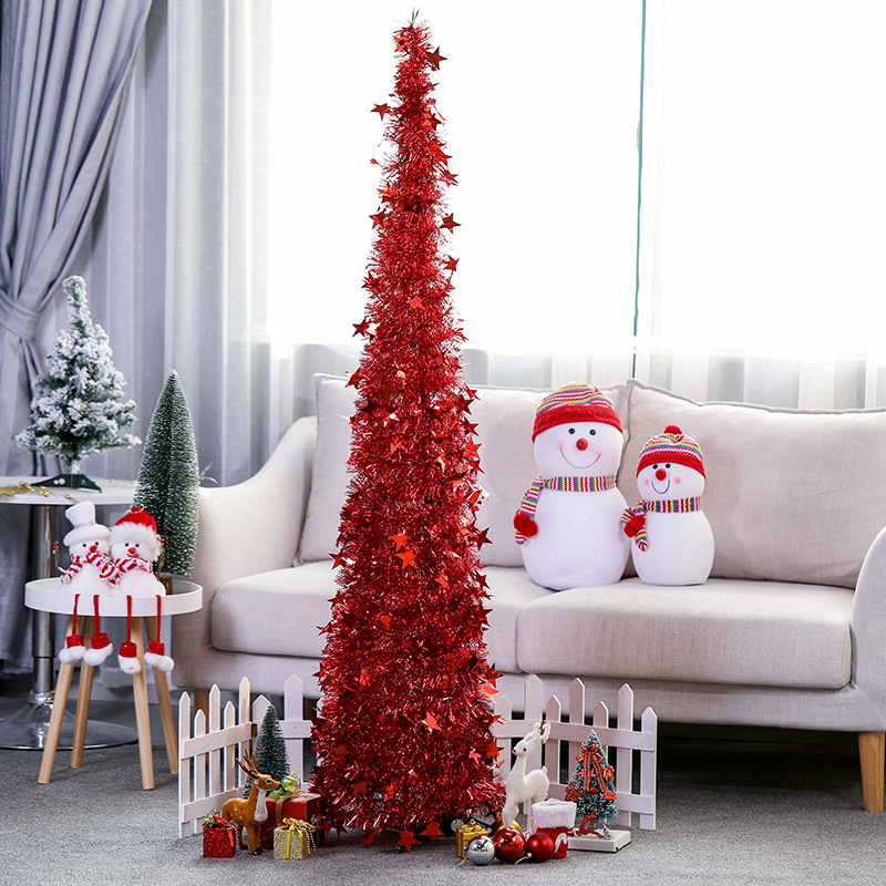 Creative Christmas Supplies Wool Tops Christmas Tree Retractable Foldable Christmas Decorative Tree Shi Pin Shu