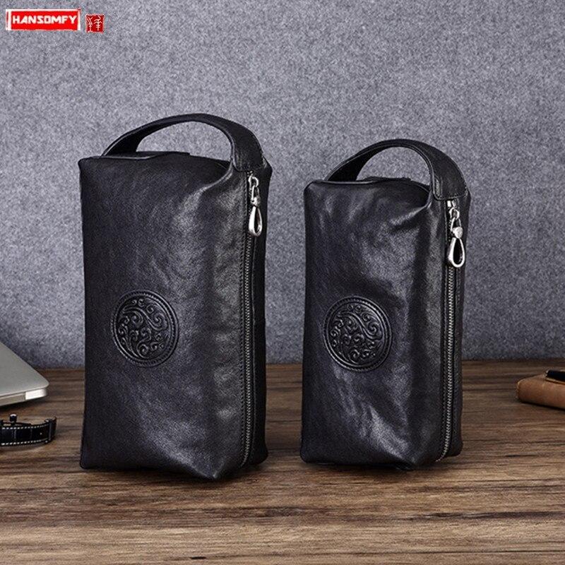 Genuine Leather Clutch Bag Leather New Clutches Bag Men Business Fashion Mobile Phone Bags Black Soft Cotton Versatile Zipper