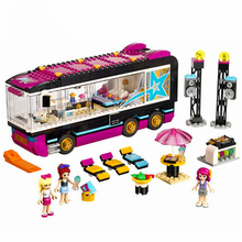 10407 Friends Pop Star Bus Building Blocks Brick Compatible Technic 41106 Toys for Children gonlei 10407 friends pop star tour bus building blocks sets bricks toys girl game house gift compatible with