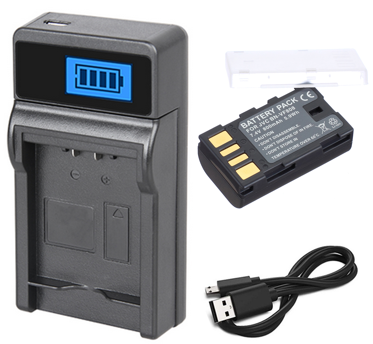 GZ-MG365U GZ-MG365BU LCD USB Battery Charger for JVC Everio GZ-MG365 GZ-MG365BUS Camcorder
