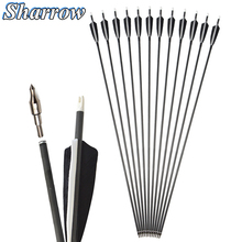 6/12/24pcs Spine 500 Carbon Arrow 35Inches 7.2mm with 4inch Shield Feather for Compound Bow Hunting Recurve Bow Archery Shooting все цены