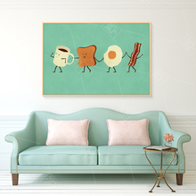 SPLSPL Cute Cartoon Canvas Art Print Poster Eggs Coffee Breakfast Food Kitchen Room Decorative Wall Picture for Kids Room