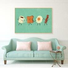 SPLSPL simpatico cartone animato stampa artistica su tela Poster uova caffè colazione cibo cucina camera immagine decorativa da parete per camera dei bambini
