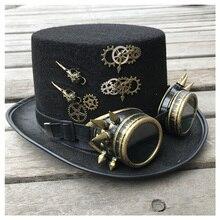 2019 Fashion Men Women Handmade Steampunk Top Hat With Gear Glasses Magic Hat Performance Bowler Hat Size 57CM Steampunk Hat
