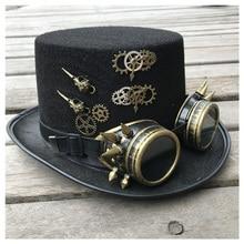 2019 moda mężczyzna kobiet Handmade Steampunk cylinder z okularami biegów magiczny kapelusz wydajność melonik rozmiar 57CM Steampunk kapelusz