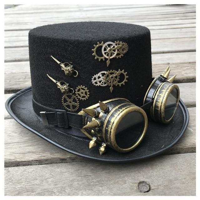 2019 moda masculina feminina artesanal steampunk chapéu com óculos de engrenagem chapéu mágico desempenho bowler chapéu tamanho 57 cm steampunk chapéu