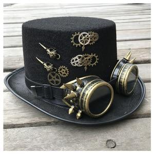 Image 1 - 2019 модная мужская и женская шляпа ручной работы в стиле стимпанк с очками для снаряжения Волшебная Шляпа для выступлений шляпа котелок размер 57 см шляпа в стиле стимпанк