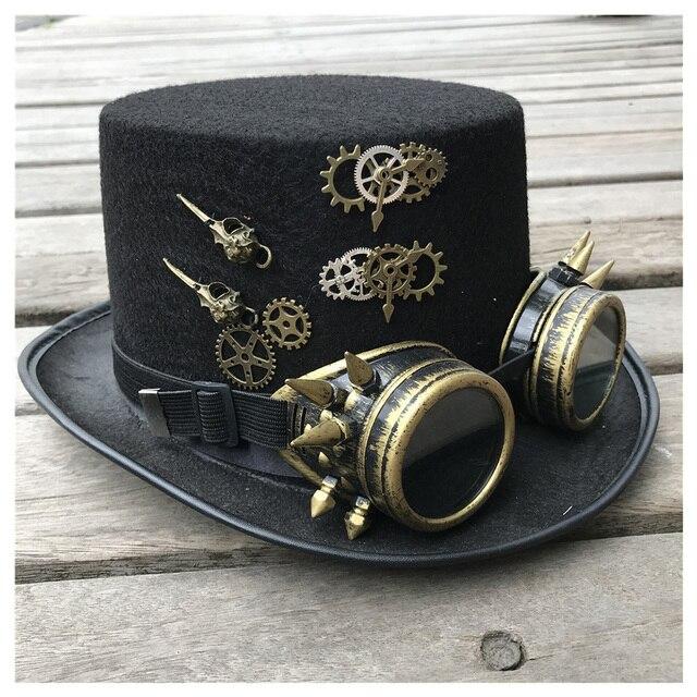 2019 модная мужская и женская шляпа ручной работы в стиле стимпанк с очками для снаряжения Волшебная Шляпа для выступлений шляпа котелок размер 57 см шляпа в стиле стимпанк