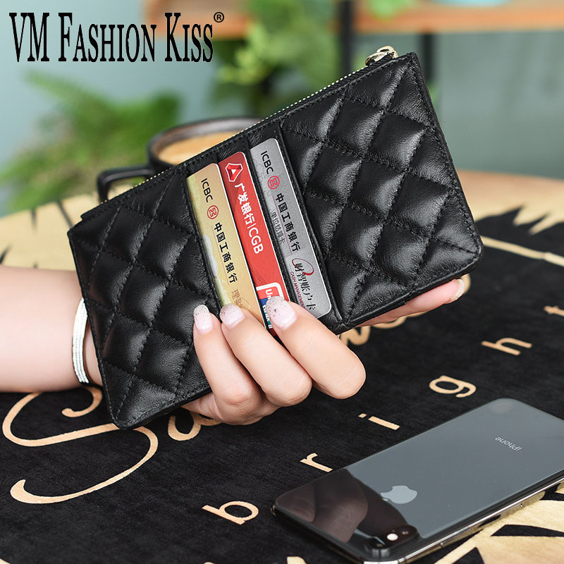 New Women Wallets Luxury Brand Wallets Designer Purse Genuine Leather Slim Thin Wallet And Purses Sheepskin Female Mobile Wallet