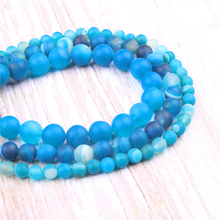 Frosted blue stripes Natural?Stone?Beads?For?Jewelry?Making?Diy?Bracelet?Necklace?6/8/10/12?mm?Wholesale?Strand