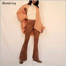 Осенние женские модные замшевые кожаные расклешенные брюки черные
