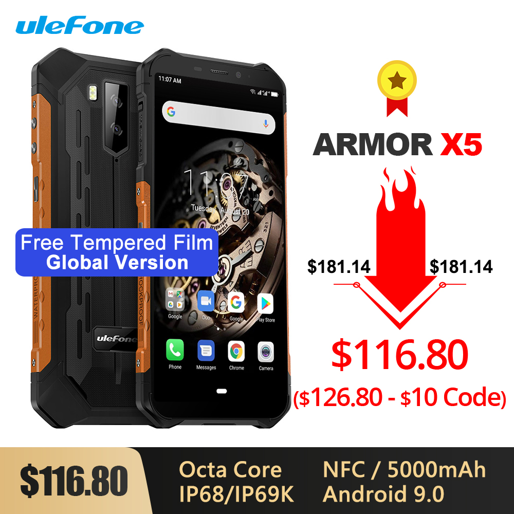 Ulefone Armor X5 IP68/IP69K Rugged Shockproof Smartphone 5000mAh Octa Core 5.5'' Android 9.0 OTG NFC 3GB 32GB 4G LTE Cellphone