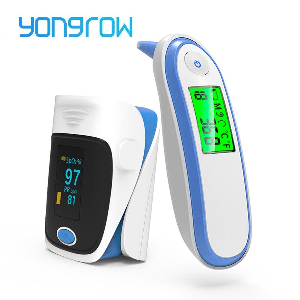 Yongrow Medical health Care Termômetro Infravermelho Termômetro Do Bebê Da Orelha do Adulto SPO2 Pulso Da Ponta Do Dedo oxímetro De Pulso De Dedo IRT1 LCD Digital