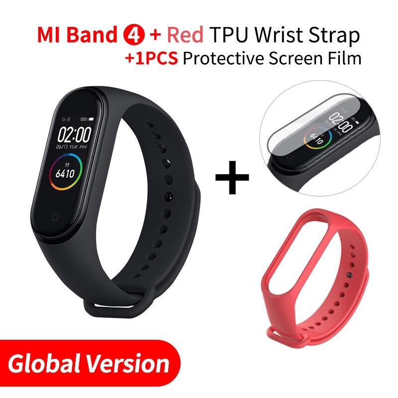 Xiaomi mi Band 4 Smart mi band 3 Цвета экран Браслет фитнес-трекер для измерения сердечного ритма Bluetooth 5,0 водонепроницаемый банда4 - Цвет: EN Add Red Strap