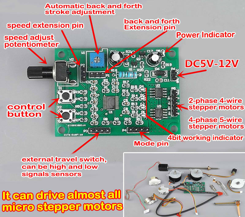 Speed Controller Module Micro Step Stepper Motor Drive Board Switch 2-phase 4-wire 4-phase 5-wire Deceleration Multi-function