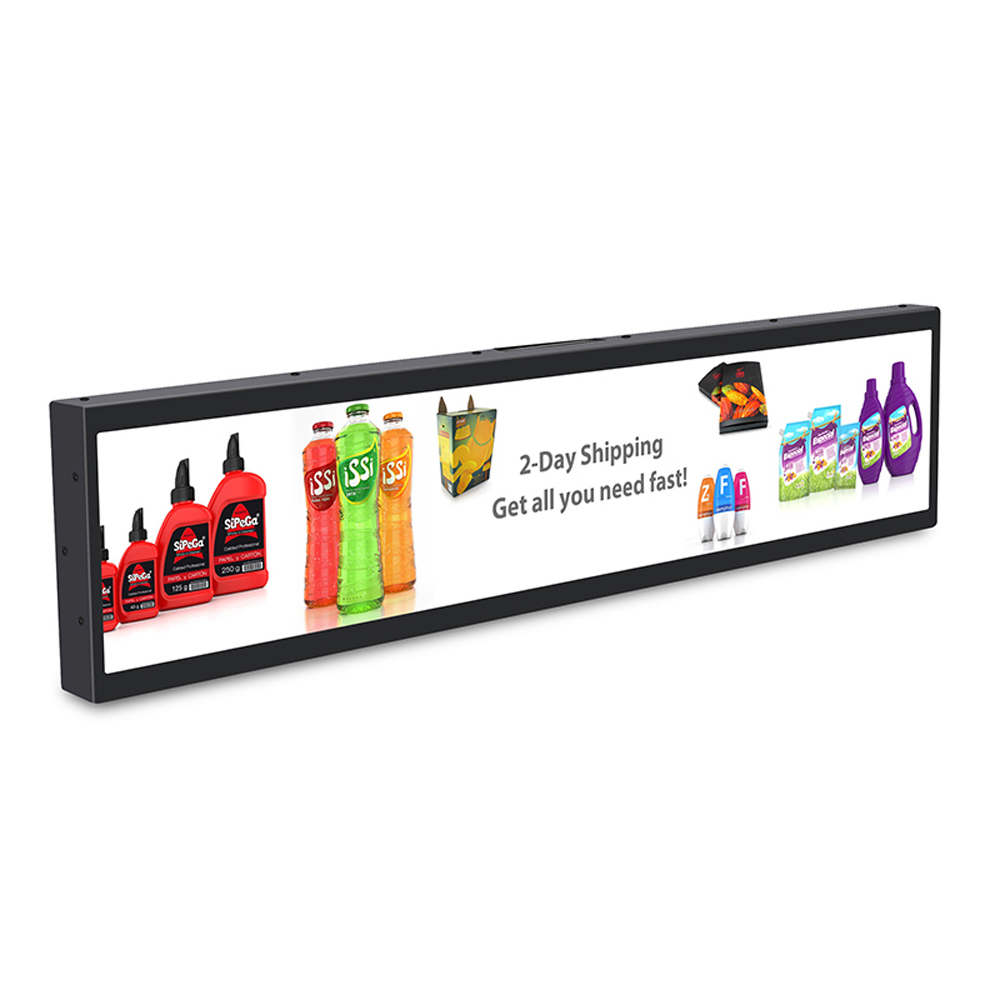 45 <font><b>inch</b></font> Edge Long Strip Screen Ad Media Player Stretched Bar Digital Signage Supermarket Shelf <font><b>Lcd</b></font> <font><b>Display</b></font> size 1074x395mm image