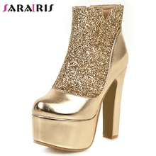 SARAIRIS New Plus Size 31-48 Ladies High Platform Booties Winter Party Evening Ankle Boots Women 2019 Heels Shoes Woman