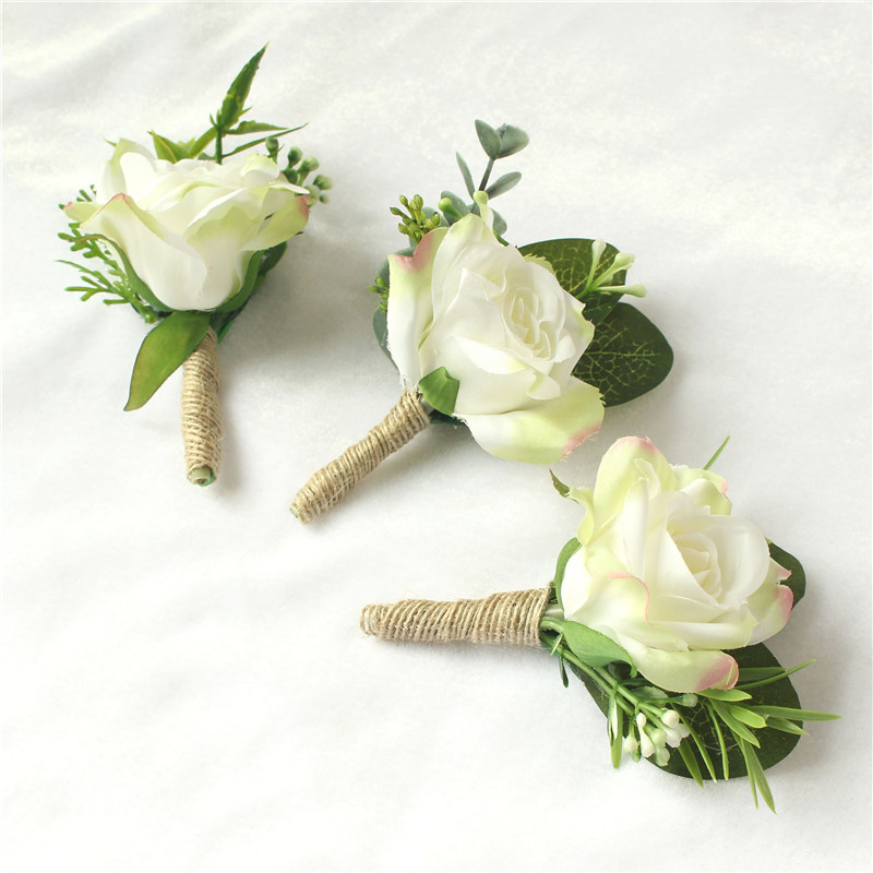 YO CHO Wholesale  White Rose Wedding Bridal Corsage Wrist Flower Artificial Flowers Wedding Arm Bracelet