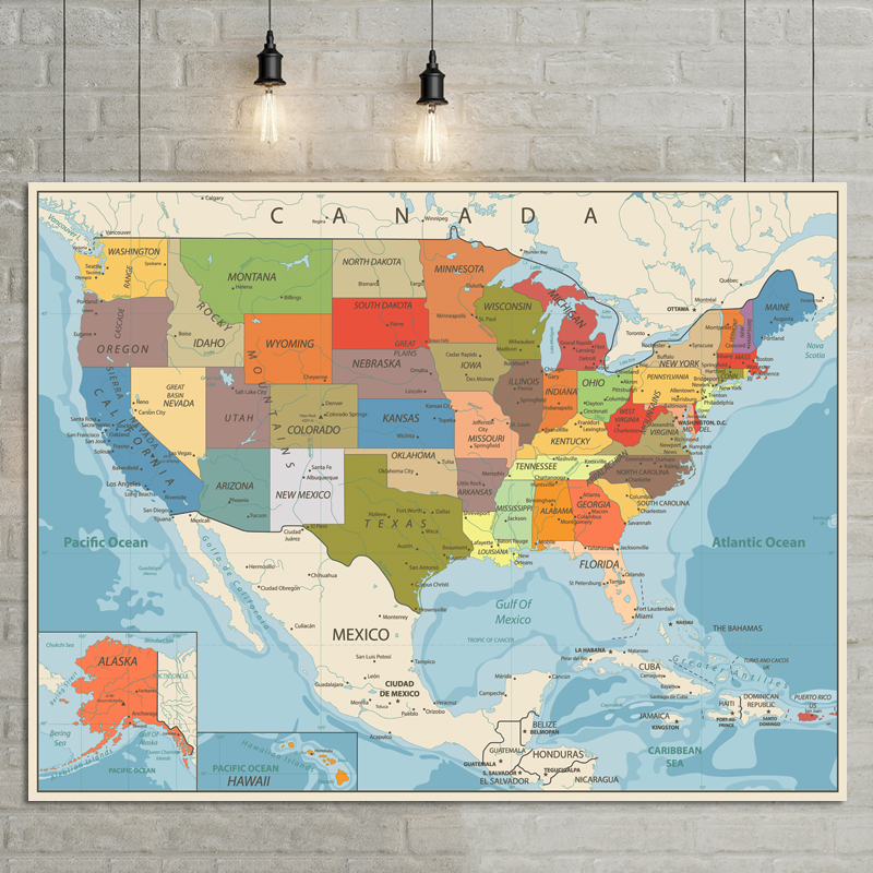 <font><b>USA</b></font> United States Map Poster Size Wall Decoration Large Map of The <font><b>USA</b></font> 80x60cm English version image