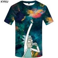KYKU Brand Rick And Morty T shirt Men Anime T-shirts 3d Graffiti Shirt Print Colorful Tshirts Casual Abstract Tshirt Printed