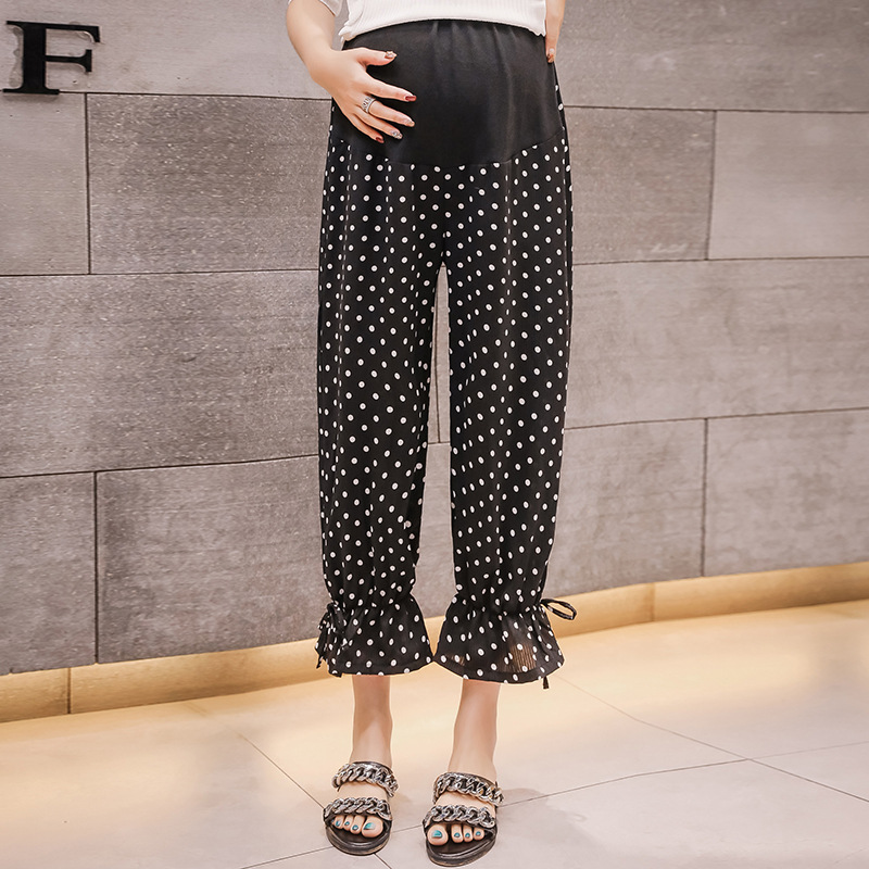 Pregnant WOMEN'S Pants Pregnant Women Summer New Style Polka Dot Elastic Beam Foot Suppot Abdominal Capri Pants