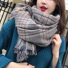 USPOP 2019 Women scarf winter thickened plaid scarves large tassel shawl female soft warm pashmina