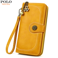 VICUNA POLO Classic Fashion Leather Wallet For Women High Capacity Long Clutch Ladies Card Holder Purse