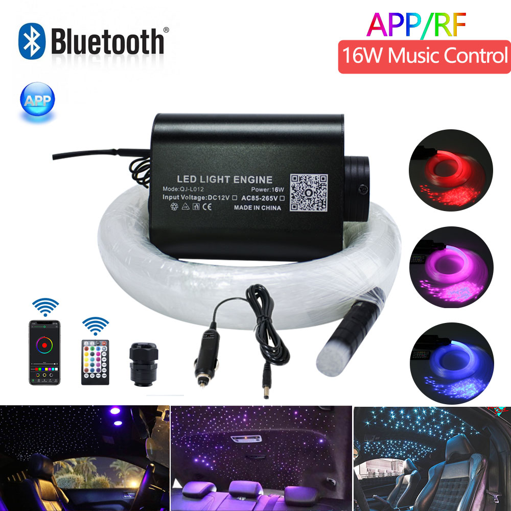 Sound Active Car Use 16W RGBW Fiber Optic Star Ceiling Lighting Kit  300pcs*0.75mm*3M  Optical Fiber With  Bluetooth APP Control