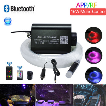 Sound Active DC12V 16W RGBW Music Control Fiber optic starry ceiling kit light with Bluetooth APP Control Car Fiber Optic Light proskit 8pk ma009 200x fiber optic viewing scope kit black transparent