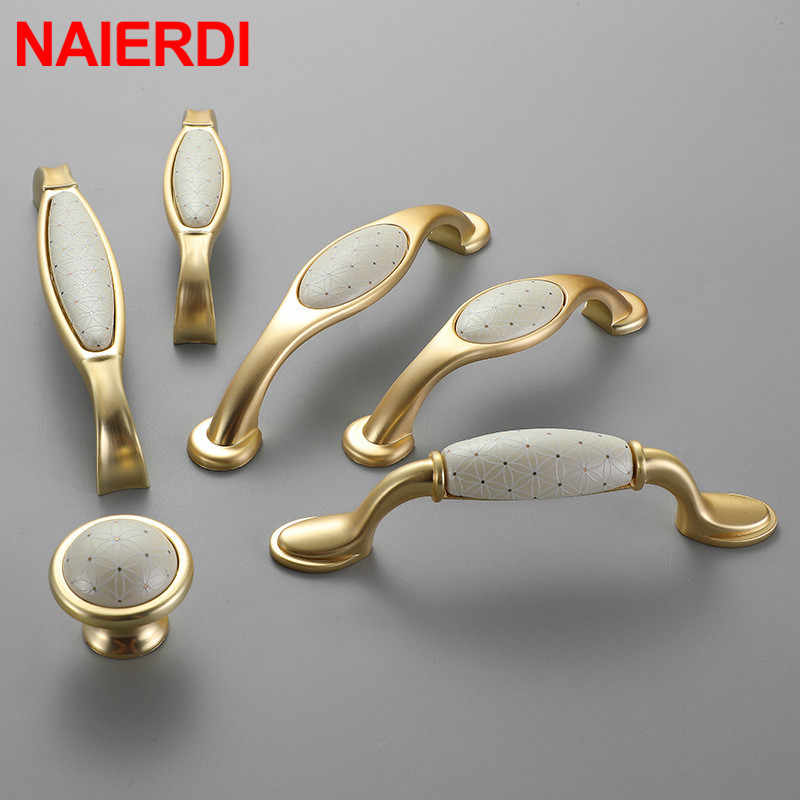 Naierdi Creamic Gold And White Cabinet Handles Knobs Zinc Alloy Drawer Pulls Kitchen Door Handles Furniture Handle Door Hardware Cabinet Pulls Aliexpress