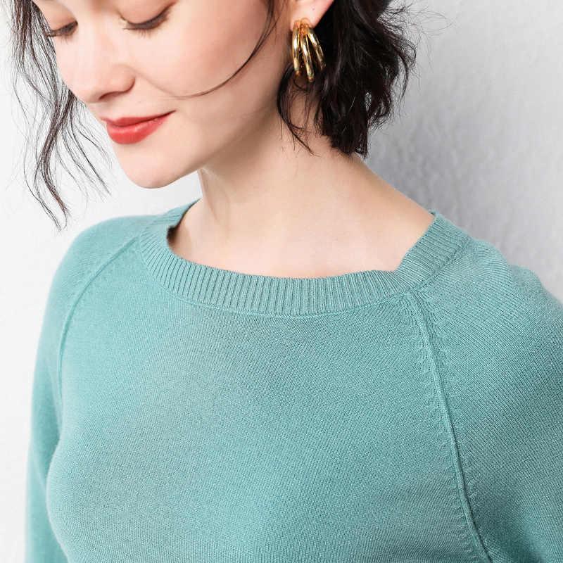 เสื้อกันหนาวผู้หญิง 2019 ฤดูหนาวใหม่เสื้อกันหนาวรอบคอ pullover bottoming เสื้อสีทึบหลวม cashmere swe