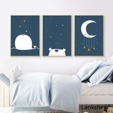 Baby Nursery Canvas Poster Cartoon Whale Moon Wall Art Print Minimalist Painting Decoration Picture Nordic Kid Boy Room Decor