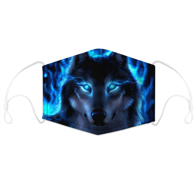 Animal Wolf Cat Dog Printing mouth Mask Reusable Protective PM2.5 Filter Paper Mask anti dust Face mask bacteria proof Flu Mask 1