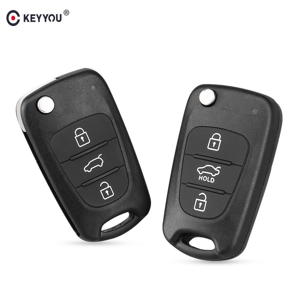 KEYYOU REMOTE Key SHELL สำหรับ Hyundai I20 I30 IX35 I35 Accent Kia Picanto Sportage K5 3 ปุ่มพลิกพับกรณีคีย์ระยะไกล