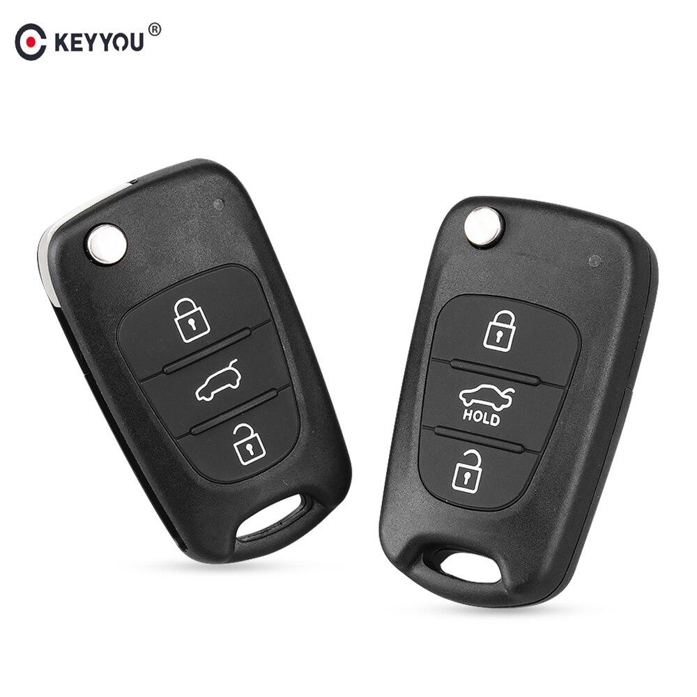 Nueva carcasa de mando a distancia KEYYOU para Hyundai I20 I30 IX35 I35 Accent Kia Sportage Picanto K5, 3 botones, funda plegable con mando a distancia