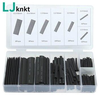 цена на 127pcs Heat shrink tube sleeve 2:1 black electronic diy kit Insulation Sleeving Polyolefin Shrinking Assorted Tubing Wire Cable