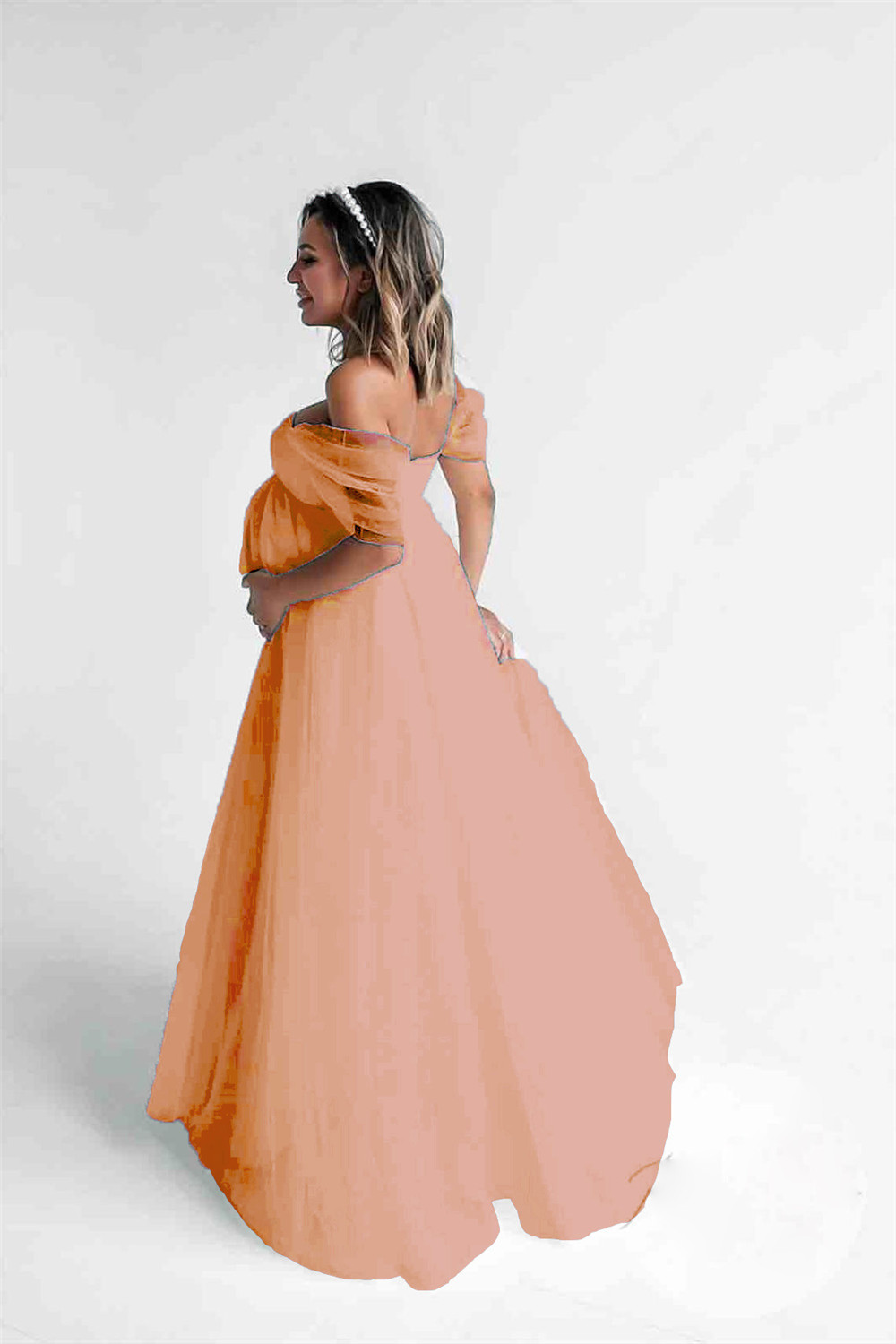 Shoulderless Sexy Maternity Dress Photo Shoot Long Pregnancy Dresses Photography Props Lace Chiffon Maxi Gown For Pregnant Women (9)