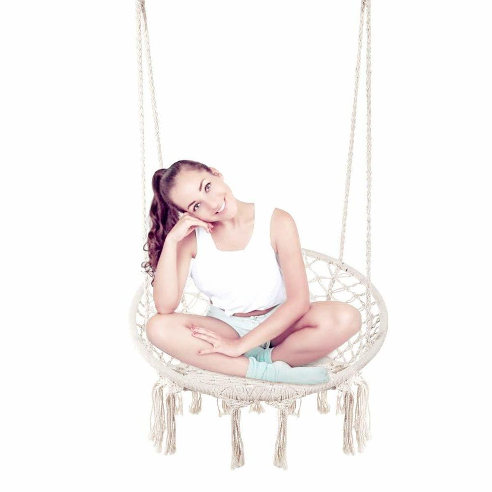 Hammock Chair Macrame Swing Hanging Cotton Rope Macrame Hammock Swing Chair Indoor Outdoor Home Hanging Chair Bear 260 Pounds
