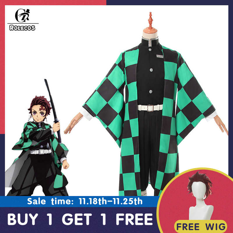 ROLECOS, аниме, Demon Slayer, косплей костюм, Kamado Tanjirou Kimetsu no Yaiba, косплей костюм для мужчин, кимоно, Униформа, полный комплект