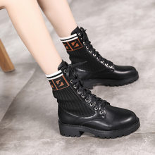 WDHKUN Boots Round Toe Women Boots Lace Up Flat Biker Military Army Combat Black Shoes Woman Botas Mujer Martin Motorcycle Boot(China)