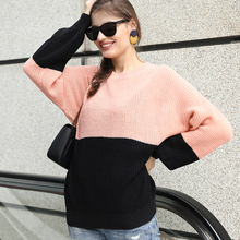 ALLNeon Patchwork O-Neck Loose Women's Sweaters Long Sleeve Knitting Pullovers Elegant Pink Jumper Winter Warm Ladies Fashion pink scoop neck patchwork splited hem thin sweaters
