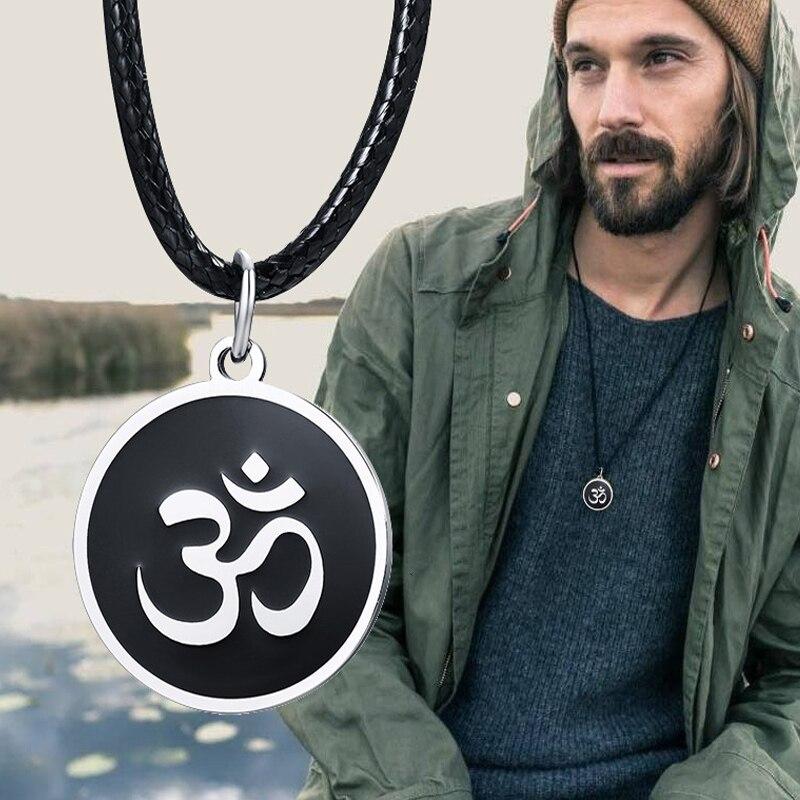De los hombres collar OM ronda Ohm colgante ajustable Yoga joyería espiritual