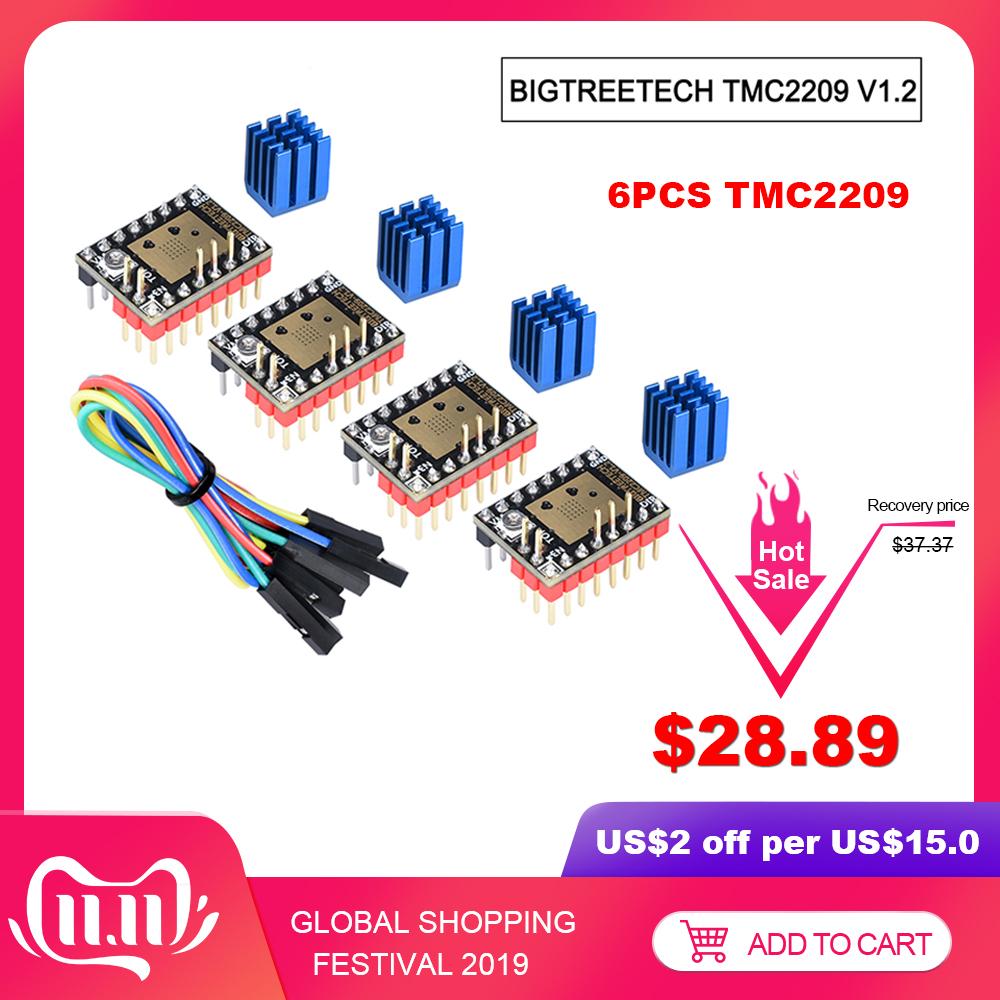 BIGTREETECH TMC2209 V1.2 Stepper Motor Driver TMC2208 UART Driver 2.8A 3D Printer Parts VS TMC2130 TMC5160 For SKR V1.3 mini E3