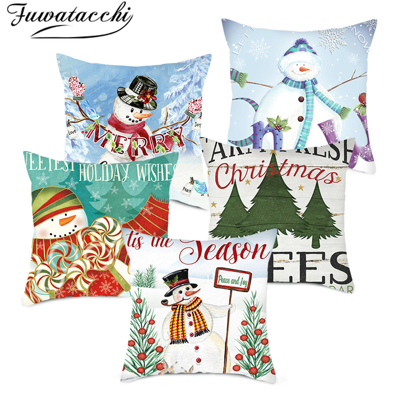 Fuwatacchi Winter Christmas Day Pillow Covers Polyester Snowman Printed Cushion Covers Home Sofa Throw Pillowcases Decoration