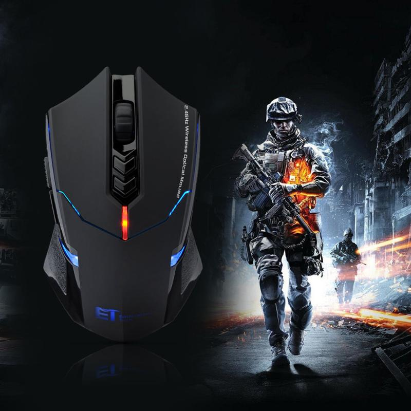 ET X-08 2000DPI Adjustable 7Button 2.4G Wireless Gaming Mouse Professional Wireless Gaming Mouse For Gamer Mute LED Mice For PC