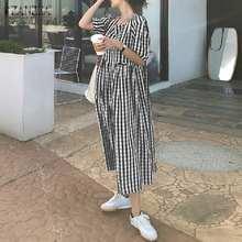 Verão casual quadrado pescoço verificado vestidos elegante xadrez vestido de verão 2021 zanzea manga curta puff vestido férias ol kaftan feminino