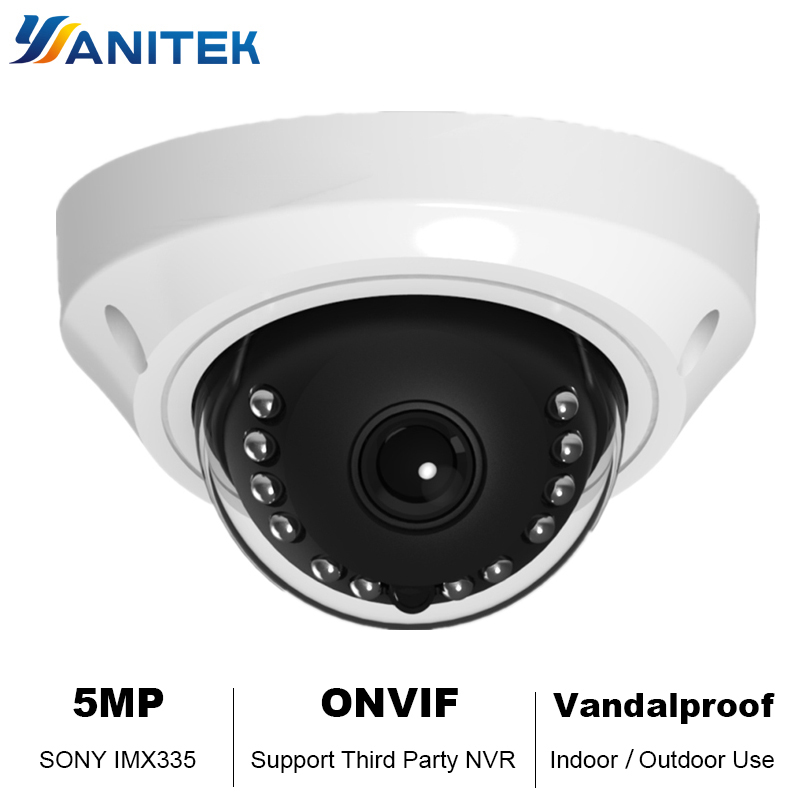 Yanitek H.265 HD 5MP Dome IP Camera 4K Mini Metal Dome Network Security CCTV Camera Onvif IR IP Camera 48V PoE