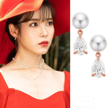 DEL LUNA Hotel IU Korean dramas crystal TV Eardrop Elegant For Women Earrings pendientes brincos ornament