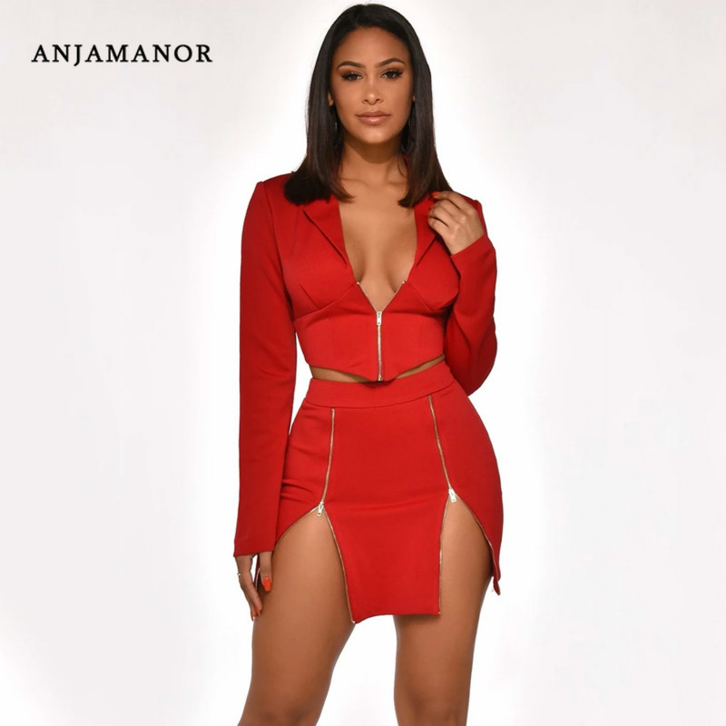 ANJAMANOR Sexy Two Piece Club Outfits Zipper Long Sleeve Crop Top Blazer And Skirt Women Clothing Matching Sets 2020 D42-AD84